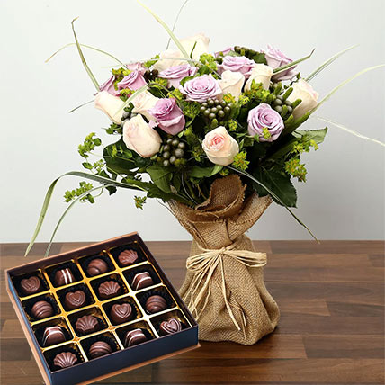 Purple and Peach Rose Bouquet With Chocolates: Flowers & Chocolates