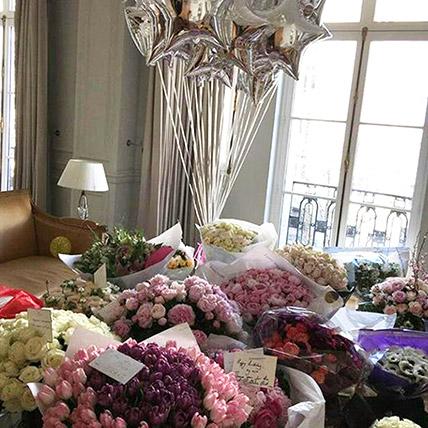 600 Mixed Flowers and Balloon Arrangement: