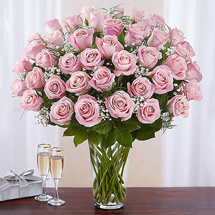 Bunch of 50 Gorgeous Pink Roses: Flower Delivery