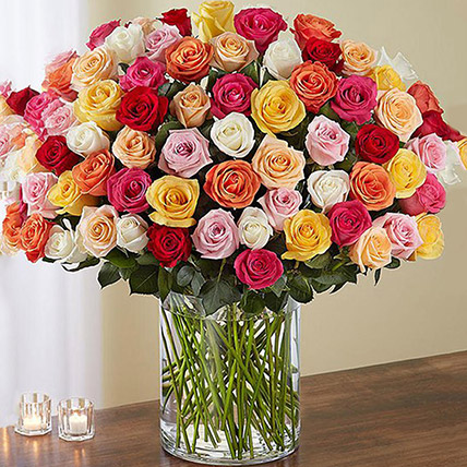 Bunch of 100 Mixed Roses In Glass Vase: Congratulations Flower Bouquet
