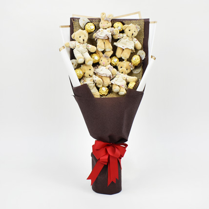 Heart Shaped Teddy Bear and Chocolate Bouquet: