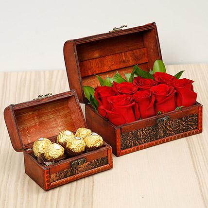 Passionate Red Roses and Chocolates Box: Birthday Flowers & Chocolates