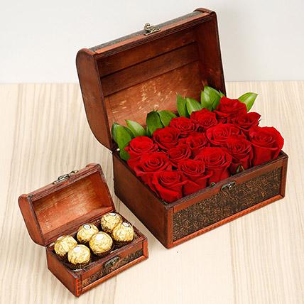 Elegant Box Of 15 Red Roses and Chocolates: Anniversary Flowers & Chocolates