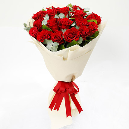 Timeless 20 Red Roses Bouquet: Anniversary Flower Bouquets