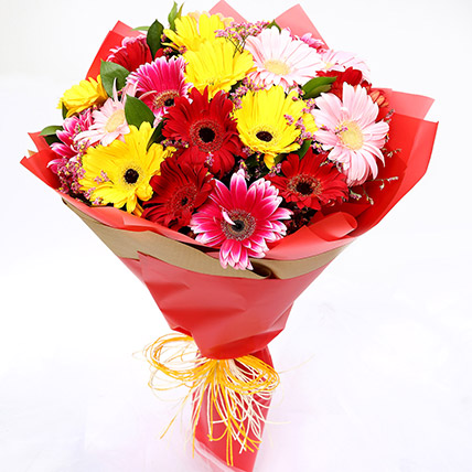 Joyful Mixed Gerbera Bouquet: