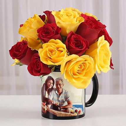 Red Yellow Roses in Personalised Mug: Personalised Combos