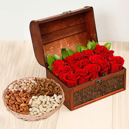 Rose Box Arrangement and Dry Fruits Combo: Karwa Chauth Flowers & Dry Fruits