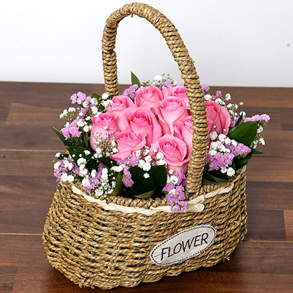 Soft Pink Roses Basket: Birthday Flowers for Her