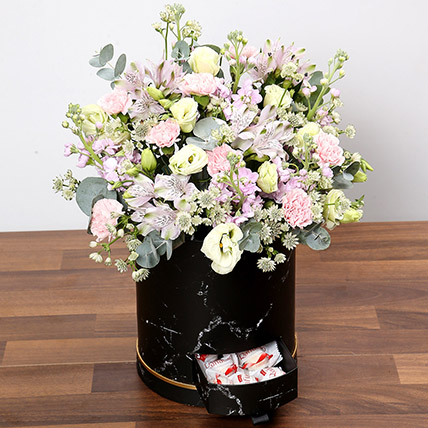 Pink and White Floral Box With Chocolates: