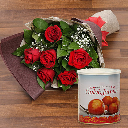Red Roses Bouquet and Gulab Jamun Combo: Dubai Sweets