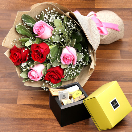 Mixed Roses Bouquet and Patchi Chocolate Combo: Best Chocolate in Dubai