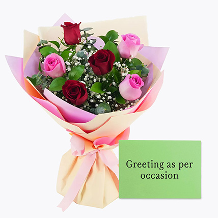 Attractive Roses Bouquet With Greeting Card: New Year Flowers & Greeting Cards