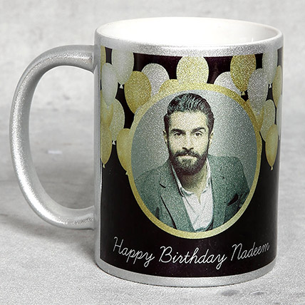 Personalised Silver Birthday Mug: Birthday Gift for Husband