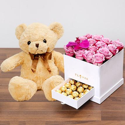 Hues Of Purple and Teddy Bear: Valentine Flowers & Teddy Bears