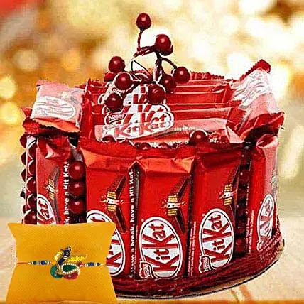 Rakhi with Kitkat Hamper: Rakhi With Chocolates