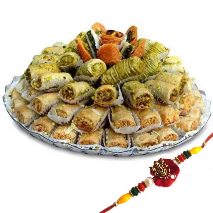 Rakhi with Baklava Sweets: Rakhi with Sweets