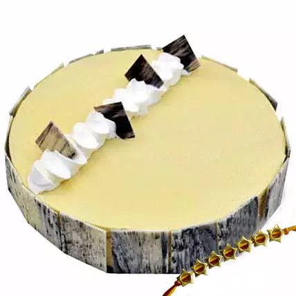 4 Portion Vanilla Cake with Rakhi: Rakhi With Cakes