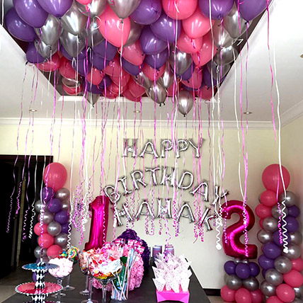Balloons & Floral Birthday Surprise: Balloon Decoration Dubai