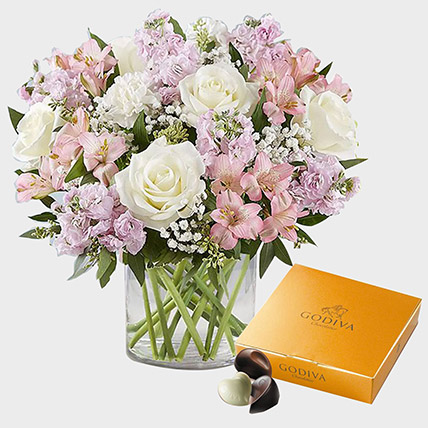 Exotic Blossoms and Godiva Gold Chocolate Box: Flowers and Chocolate Delivery