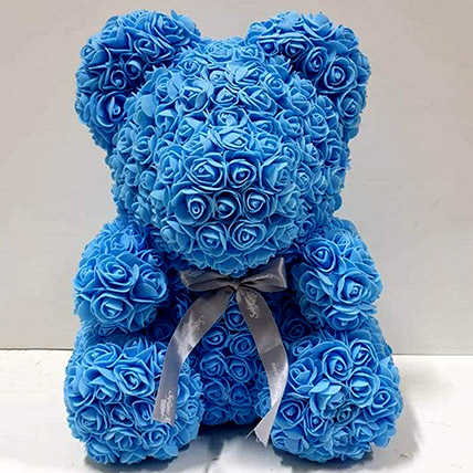 Artificial Blue Roses Teddy: