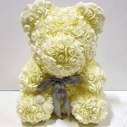 Artificial Milky White Roses Teddy: