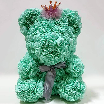 Artificial Roses Turquoise Crown Teddy: