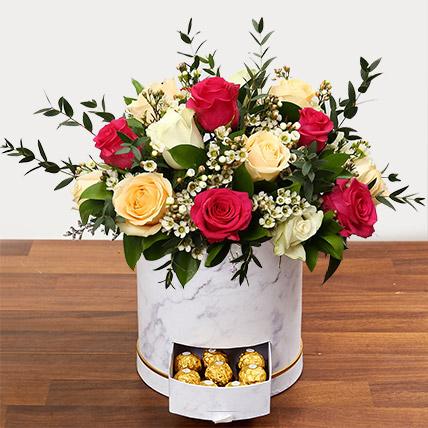 Beautiful Mixed Roses Arrangement: Flower in a Box