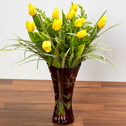 Bright Yellow Tulips In Maroon Vase: Sorry Flowers
