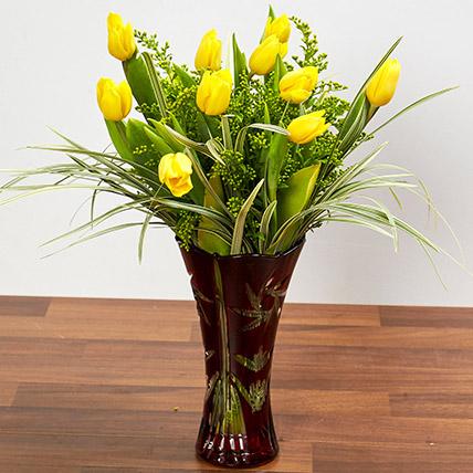 Bright Yellow Tulips In Maroon Vase: Tulip Flowers