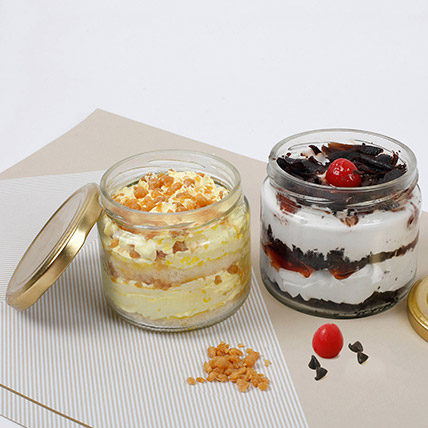 Butterscotch and Black Forest Jar Cakes: