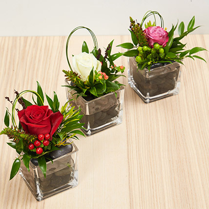 Set Of 3 Flower Vase Arrangements: Get Well Soon Flowers