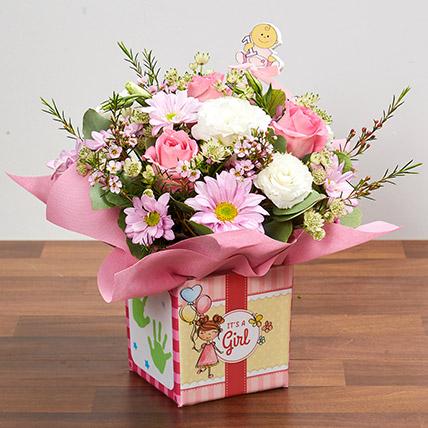 It's A Girl Flower Vase: New Born Flowers