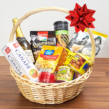 Sparkling Juice and Snacks Basket: Gifts for Womens Day