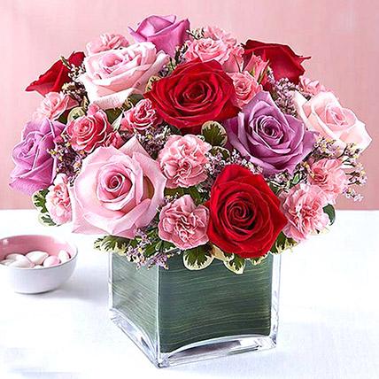 Bright Roses Vase: Birthday Flower Arrangements