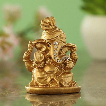 Gold Plated Ganesha Idol Blue: Diwali Gift Ideas
