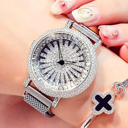 Korean Diamond Star Silver Watch: