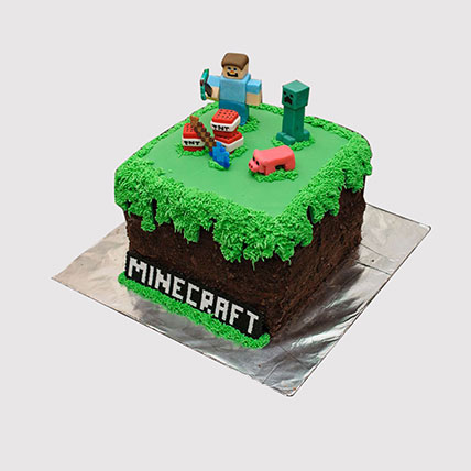 Designer Minecraft Themed Cake: Minecraft Birthday Cake