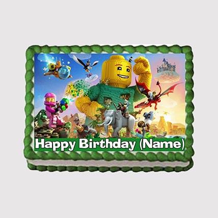 Lego Theme Photo Cake: Iron Man Birthday Cake
