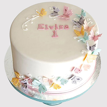 Magical Butterflies Cake: 1 year birthday cake