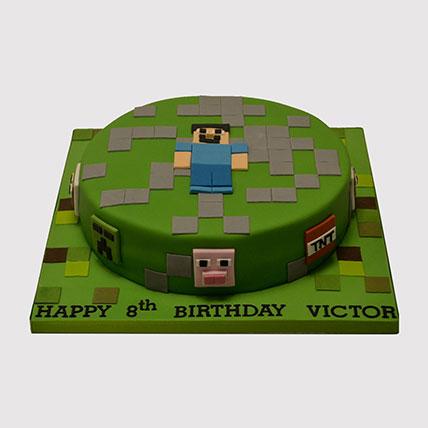 Minecraft Steve Fondant Cake: Minecraft Birthday Cake