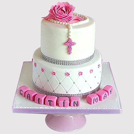 Pretty Pink Floral Christening Cake: Christening Cake