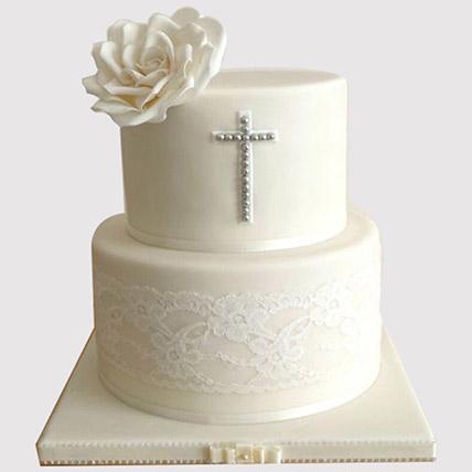 Pretty White Floral Christening Cake: Christening Cakes for Boys/Girls