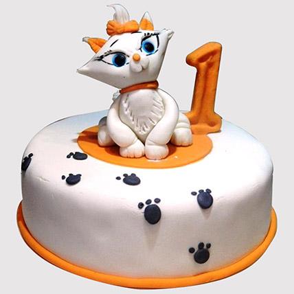White Cat Birthday Cake: 1st Birthday Cakes
