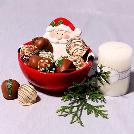 Santas Bowl Of Chocolate Strawberries: Christmas Gift Ideas