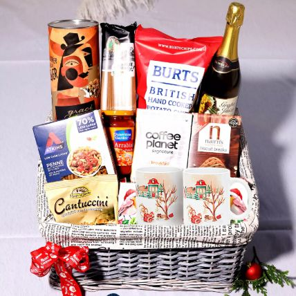 Sparkling Juice And Snack Basket: Christmas Gift Hampers