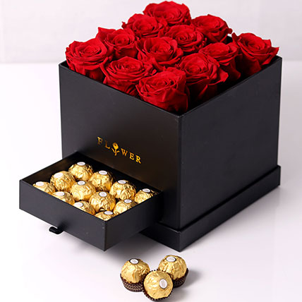 Forever Red Roses With Rochers In Box: Forever Rose Dubai