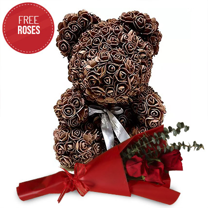 Brown Roses Teddy and Free 3 Red Roses: