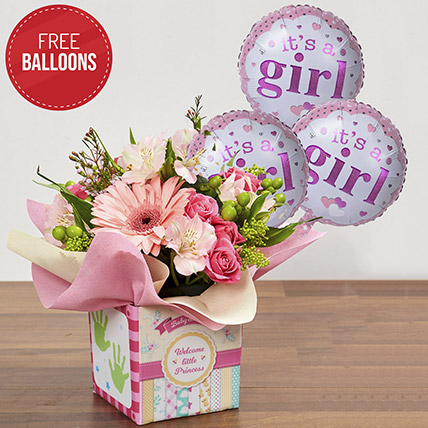 Pink Glass Vase Arrangement with Free Balloons: