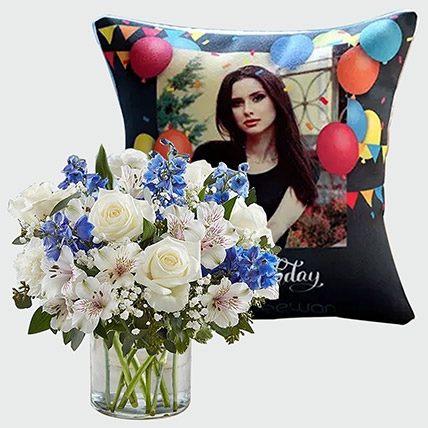 Personalised Birthday Cushion and Flowers: