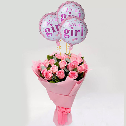 Pink Roses Bouquet with Balloons: Newborn Baby Gift Ideas